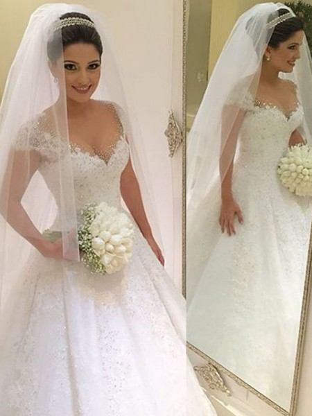 Ball Gown V-neck Floor-Length Tulle Wedding Dress
