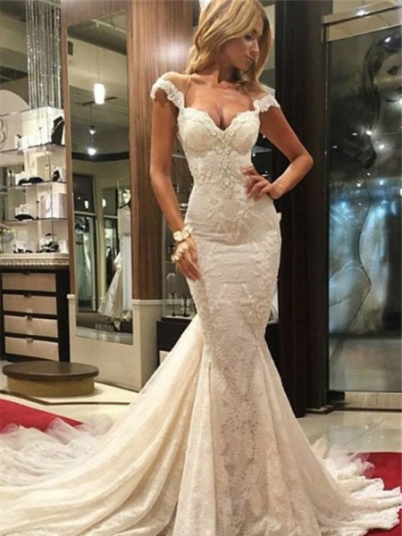Trumpet/Mermaid Sweep/Brush Train V-neck Lace Wedding Dress