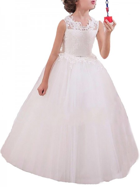 Ball Gown Jewel Applique Floor-Length Tulle Flower Girl Dress