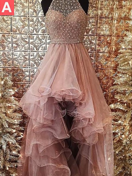 Ball Gown Halter Sleeveless Beading Sweep/Brush Train Organza Dresses