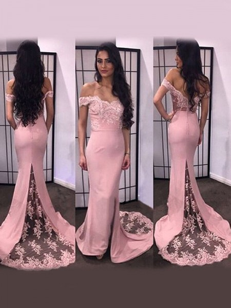 Trumpet/Mermaid Off-the-Shoulder Lace Satin Sweep/Brush Train Dress