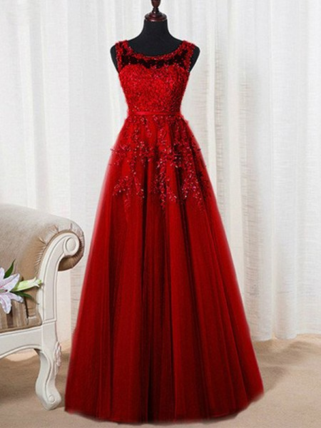 A-Line/Princess Scoop Floor-Length Tulle Dress