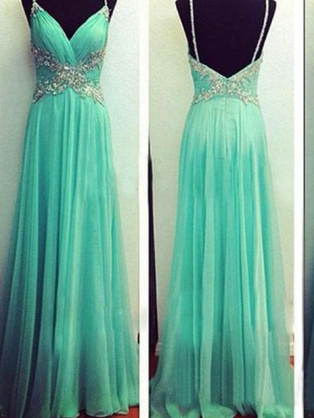 A-Line Spaghetti Straps Beading Floor-Length Chiffon Evening Dress