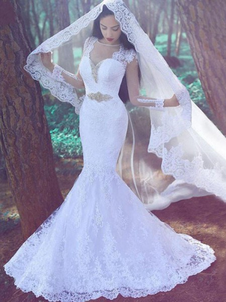 Trumpet/Mermaid Applique Sweetheart Long Sleeves Lace Court Train Wedding Dresses