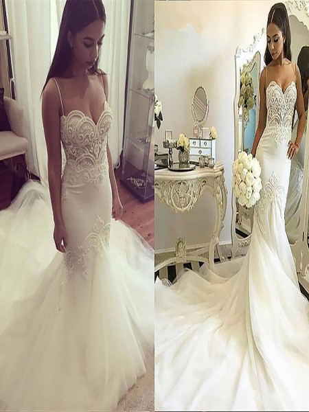Trumpet/Mermaid Spaghetti Straps Sleeveless Chapel Train Tulle Wedding Dresses