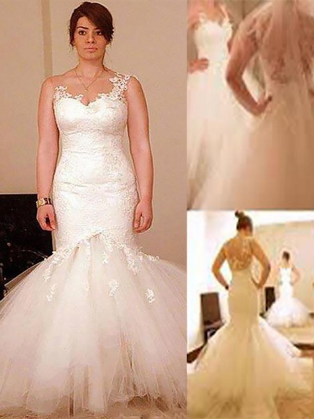 Trumpet/Mermaid Floor-Length Sleeveless Organza Straps Wedding Dresses