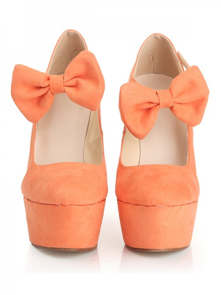 Suede Bowknot Flowers Round Toe Wedges