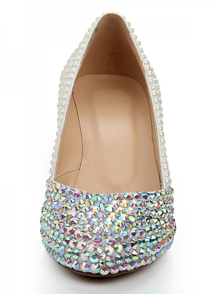 Patent Leather Pearls Diamond Wedges