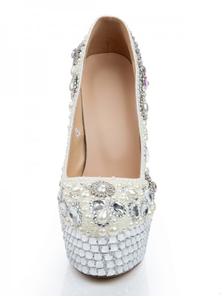 Patent Leather Glass Drill Pearls High Heels with Diamond Chain