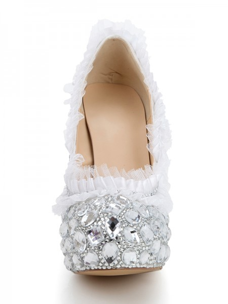 Satin Diamond Round Toe High Heels