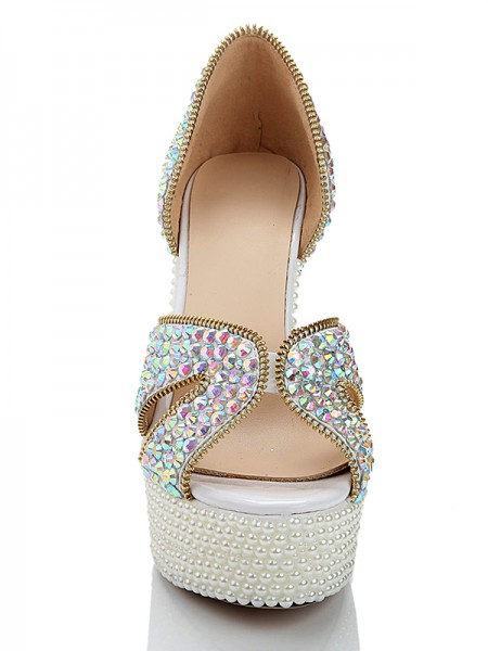 Patent Leather Pearls Diamond Sandals High Heels