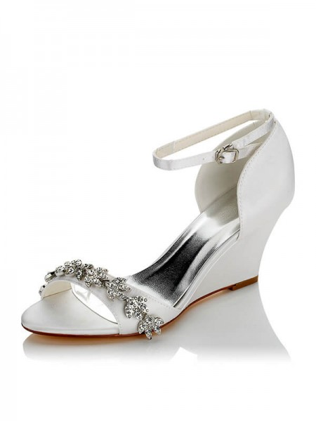 Chic Satin Wedge Heel Wedding Shoes SW0121755B1I