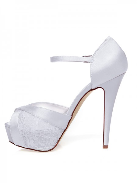 Women's Stiletto Heel Satin Peep Toe Knots Wedding Shoes