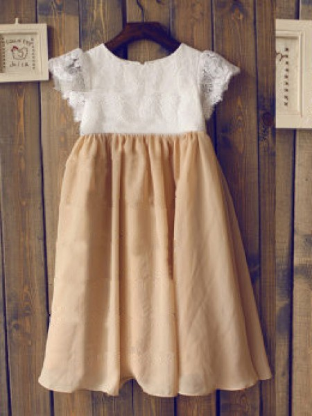 Cute Princess Scoop Short Sleeves Tea-length Chiffon Girl Dress