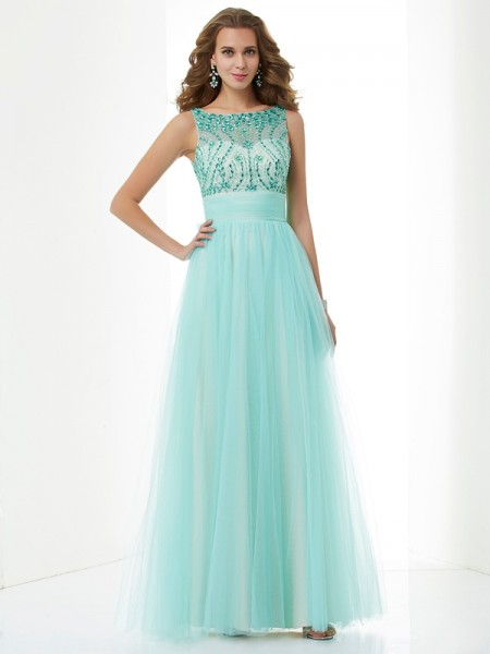 A Line Princess Bateau Beading Floor Length Elastic Woven Satin Evening Gown