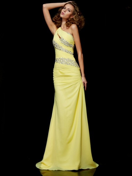 Column One Shoulder Sweep Brush Train Chiffon Beading Evening Gown