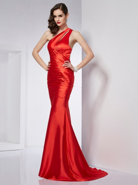 Column One Shoulder Sweep Brush Train Beading Elastic Woven Satin Evening Gown