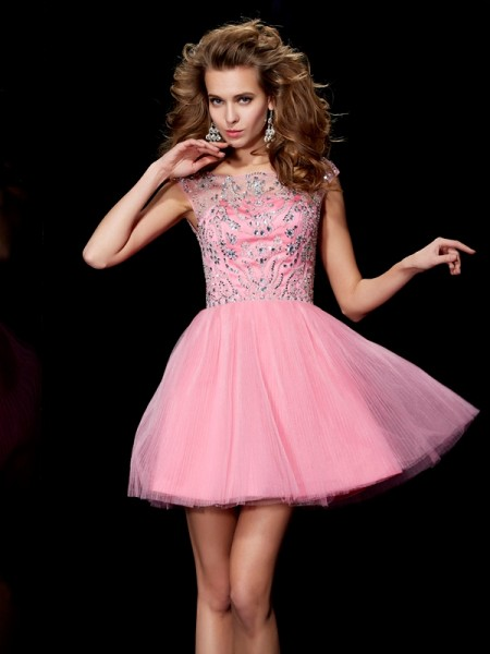 A Line Princess Bateau Beading Mini Satin Women Dresses