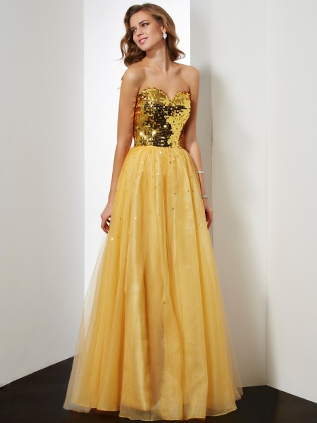Ball Gown Sweetheart sequin Floor Length Organza Evening Gown
