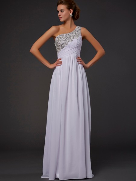 Column One Shoulder Chiffon Floor Length Beading Dress