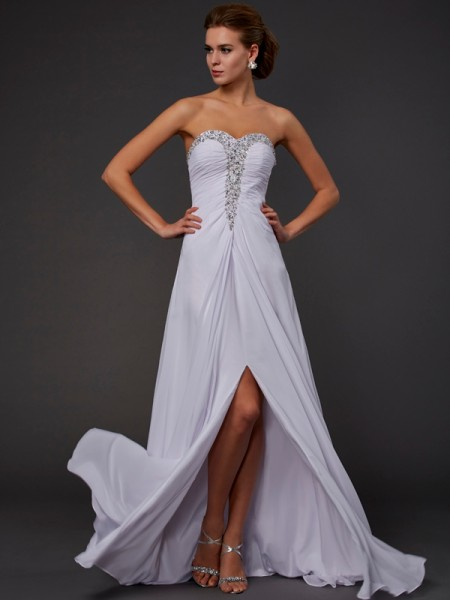 Column Strapless Sweetheart Floor Length Chiffon Beading Dress