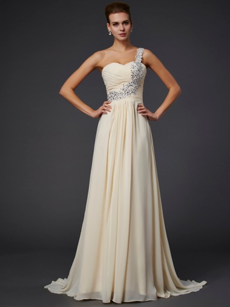A Line Princess One Shoulder Beading Applique Floor Length Chiffon Prom Dress