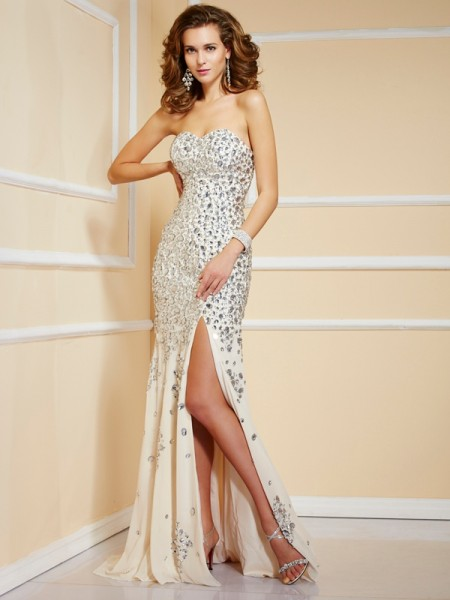 Sweetheart Column Sweep Brush Train Beading Chiffon Evening Gown
