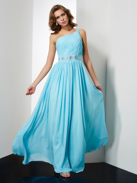 A Line Princess Chiffon One Shoulder Floor Length Beading Evening Gown