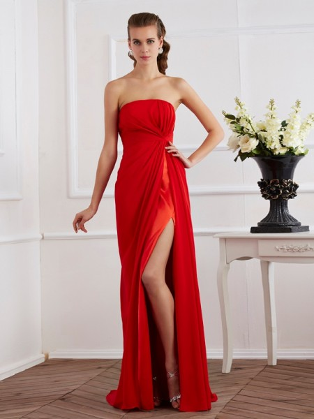 Column Strapless Chiffon Floor Length Pleats Evening Gown