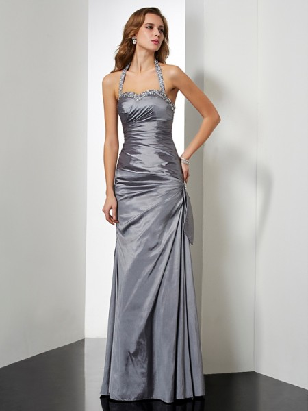 Mermaid Halter Beading Floor Length Taffeta Evening Gown