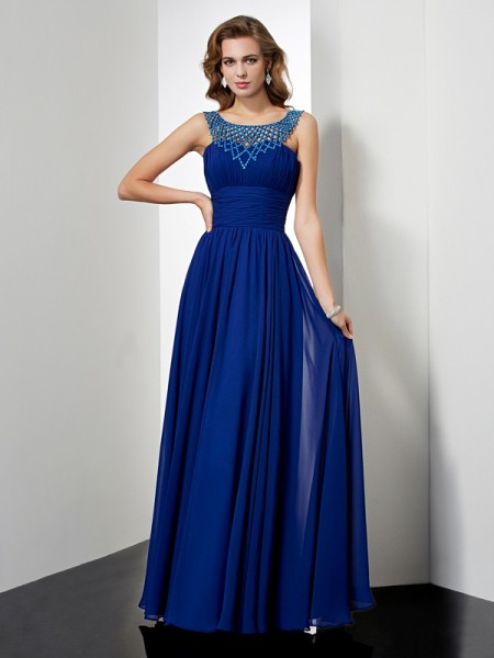 Empire High Neck Chiffon Beading Floor Length Evening Gown