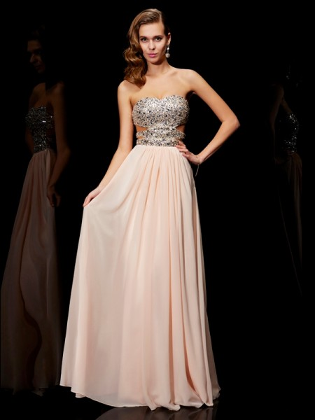 A Line Princess Rhinestone Sweetheart Floor Length Chiffon Prom Dress