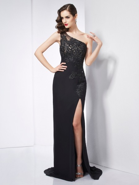 Column One Shoulder Applique Sweep Brush Train Chiffon Prom Dress