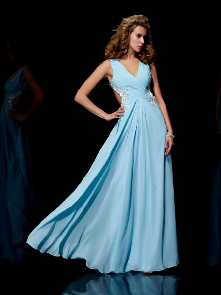 A Line Princess Straps Applique Beading Floor Length Chiffon Prom Dress