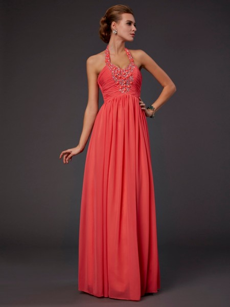 A Line Floor Length Halter Hand Made Flower Beading Chiffon Dress