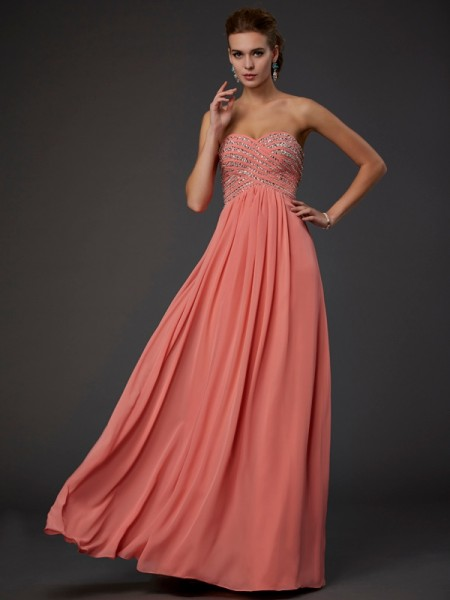 A Line Sweetheart Beading Floor Length Chiffon Dress