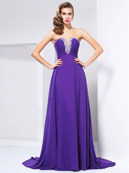 A Line Princess Sweep Brush Train Chiffon Beading Sweetheart Evening Gown