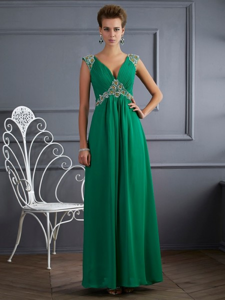 A Line Princess V-Neck Short Sleeves Chiffon Beading ankle length Evening Gown