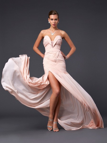 Column Sweetheart Sweep Brush Train Chiffon Prom Dress