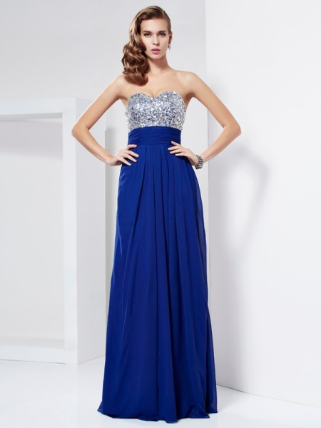 Column Floor Length Sweetheart Rhinestone Chiffon Prom Dress