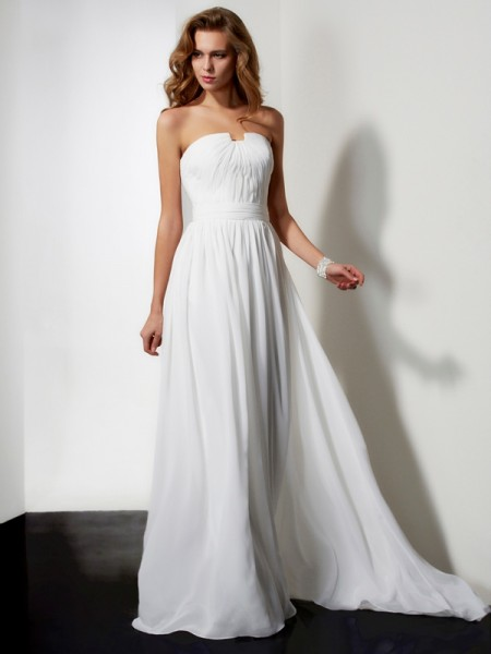 A Line Princess Floor Length Strapless Ruffles Chiffon Prom Dress