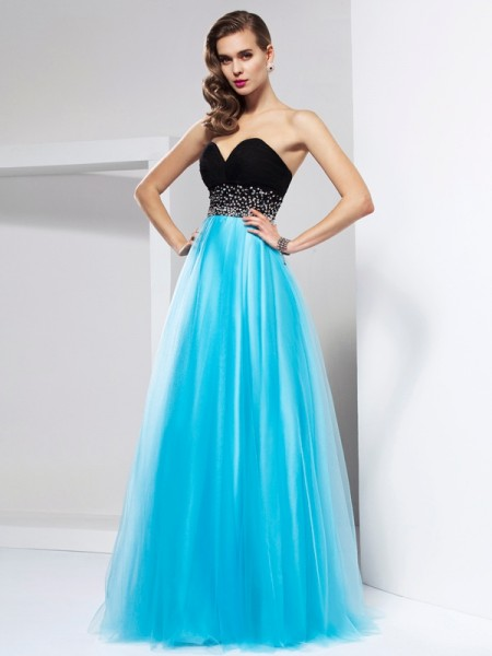A Line Princess Floor Length Sweetheart Net Ruffles Evening Gown