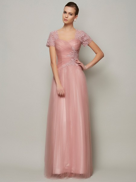 A Line Princess Short Sleeves Sweetheart Floor Length Satin Beading Gown
