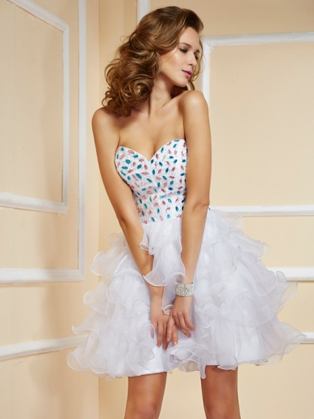 A Line Princess Mini Sweetheart Rhinestone Organza Gown