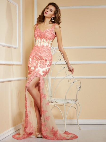 Column Applique lace Sweetheart Asymmetrical Evening Gown