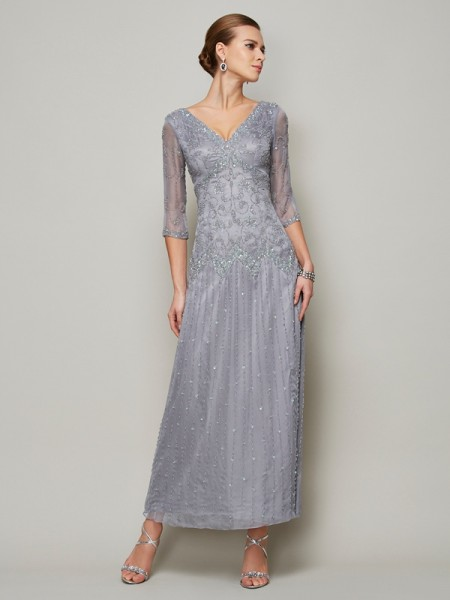 Column V-Neck Sleeves Beading ankle Elastic Woven Satin mother of the groom Dress