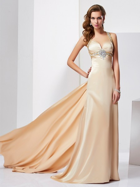 Column Ruffles Halter Sweep Brush Train silk like Satin Evening Gown