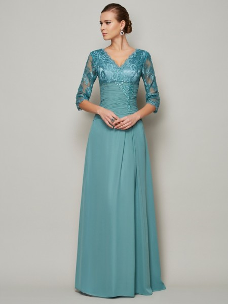 A Line Princess Chiffon High Neck Sleeves lace Mother of the Bride Outfits