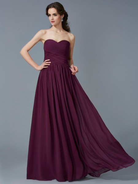A Line Princess Sweetheart Pleats Floor Length Chiffon Prom Dress