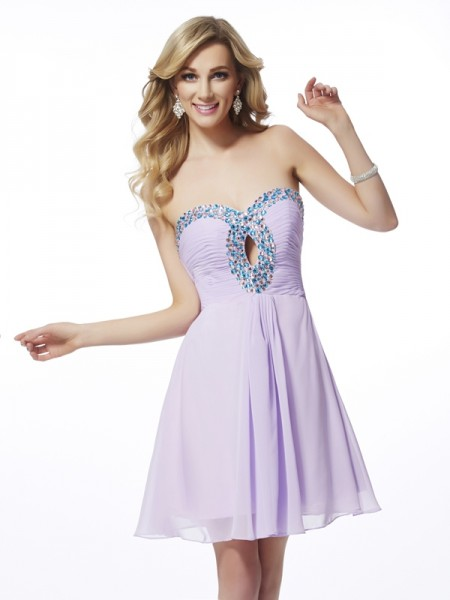 Sweetheart Column Beading Chiffon Mini Gown